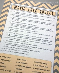 These Bridal Shower Game Cards Feature Love Quotes From Popular And Iconic Movies The Design
