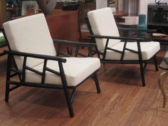 Pair of Ficks Reed  Rattan Lounge Chairs | From a unique collection of antique and modern lounge chairs at…