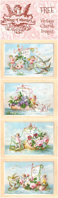 Wings of Whimsy: Exquisite Victorian Sailing Cherubs #vintage #ephemera #printable #freebie #cherubs