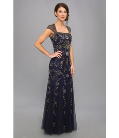 Adrianna Papell Cap Sleeve Envelope Back Bead Gown Navy - 6pm.com