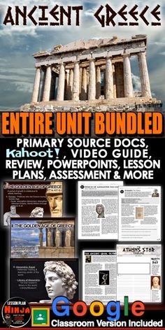 Ancient Greece Entire Unit Bundled includes Ancient Greece PowerPoints with video and presenter notes. Unit also includes, warm up powerpoints, informational text documents with questions, primary source worksheets, maps, exit tickets, crossword review, Kahoot! review game, video/video guide, and editable assessment. Everything is put together with detailed daily lesson plans.                             #DistanceLearning #GoogleClassroom #WorldHistoryLessonPlans #LessonPlans… History Lesson Plans, World History Lessons, Teaching History, Colleges For Psychology, Psychology Courses, Psychology Quotes, School Psychology, Library Of Alexandria, Daily Lesson Plan