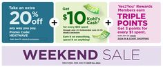 Get 20% off Sitewide + Earn triple Y2Y reward points on every $1 spent + $10 Kohls Cash with every $50 spent. Expires: 6/23/2019 Use HEATWAVE Coupon Code when Checkout #kohls #kohls30offcouponcode #kohlsinstorecoupons #kohlscash Pineapple Pudding, Store Coupons, Printable Coupons, Simply Vera, Kohls, Coupon Codes, Coding, Recipes, Rezepte