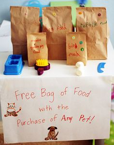 creative pretend play props & ideas -- pet store!