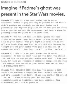 The last one killed me even though Rey isn't a Skywalker and Ben isn't a Sith.
