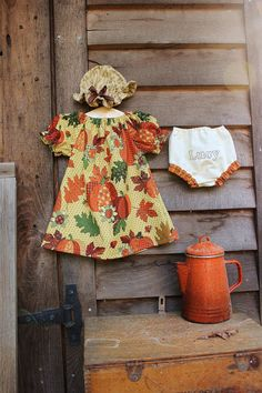 Fall Baby Coming Home Outfit - Monogrammed Bloomers, Pumpkin Spice Dress, hat, Thanksgiving,  Preemie, Newborn, 0-3, 3-6 ,6-12, 12-18 months, $38.50