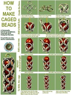 How to cage beads in chain maille.  Fabulous!