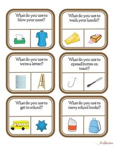 These object function cards are useful to help the student match picture to word. It helps with repetition and vocabulary. Autism Teaching, Autism Activities, Comprehension Activities, Autism Classroom, Special Education Classroom, Language Activities, Stars Classroom, Sorting Activities, Classroom Setup
