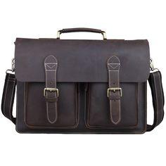 Vintage Bull Leather Tote Mens Briefcase 16'' Laptop Case Messenger Shoulder Bag #TIDING #MessengerShoulderBag