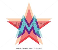Five-point star logo with letter M. Vector illustration