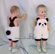 Not Physical item-Baby Panda Overall Shorties,Baby Costumes, Rompers, Buttons at Legs for Easy Chang Baby Knitting Patterns, Baby Patterns, Crochet Patterns, Accessoires Barbie, Baby Overalls, Crochet Baby Clothes, Baby Puppies, Baby Costumes, Crochet Gifts