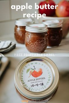 Easy Homemade Apple Butter recipe that can be made on the stove top or the crockpot. Small batch canning instructions are included as well as a FREE label that you can print for gift giving! baby foods canning Easy Apple Butter ~ FREE Printable Labels Apple Recipes For Canning, Apple Butter Canning, Homemade Apple Butter, Stove Top Recipes, Homemade Recipe, Jelly Recipes, Jam Recipes, Baby Food Recipes, Butter Crock