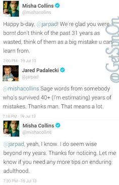 Misha Collins sending birthday love to Jared Padalecki ;p lol - #SpnFamily #SpnTweets