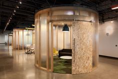 Conference rooms in open office floor plan; AOL's Unique Office