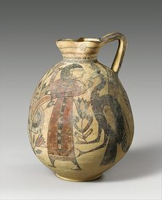 Terracotta jug Period: Cypro-Archaic I Date: ca. 750–600 B.C. Culture: Cypriot Medium: Terracotta Dimensions: H. 9 1/2 in. (24.1 cm) diameter 2 9/16 in. (6.5 cm) Classification: Vases Credit Line: The Cesnola Collection, Purchased by subscription, 1874–76 Accession Number: 74.51.509