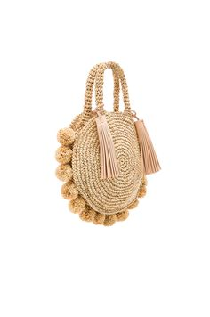 Shop for Loeffler Randall Straw Circle Tote in Natural at REVOLVE. My Bags, Purses And Bags, Crochet Hobo Bag, Round Bag, Knitted Bags, Leather Tassel, Crochet Projects, Straw Bag, Loeffler Randall