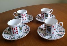 Coffee Cup Saucer Playing Cards Elizabethan Bone China Cut for Coffee Set of 4