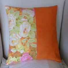 Housse de coussin en suédine orange acidulé & coton à fleurs, orange, jaune, rose,camel,vert anis