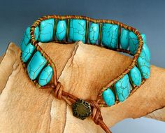 Turquoise Magnasite Beaded Leather Single by GalesJustBeadItShop, $28.00