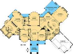 I like the kitchen layout Grand Interior, Plus Outdoor Living and Kitchen - floor plan - Main Level Reach In Closet, Walk In Pantry, Dream House Plans, House Floor Plans, Mountain House Plans, Mountain Homes, Large Laundry Rooms, Two Story Foyer, I Love House