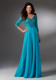 Chiffon A-line Mother of the Occasion Gown with V-neck Beaded Bodice and 3/4 Sleeves. Evening Dresses and Mother of the Bride Dresses by Morilee.