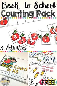 Counting and correspondence are important skills for number sense. Use these Back to School themed counting activities to practice and reinforce counting skills in your Special Education classroom. Numbers Kindergarten, Preschool Math, Teaching Math, Maths, Kindergarten Rocks, Preschool Projects, Learning Numbers, Preschool Activities, 1st Day Of School