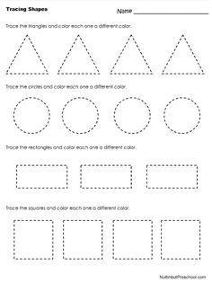 Tracing Shapes Worksheet | Nuttin' But Preschool