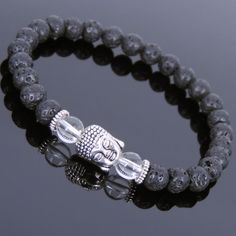 Men's Women Lava Rock White Crystal Bracelet Tibetan Silver Buddha T131 #Handmade #Beaded