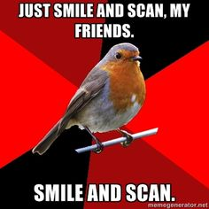 haahaha just smile and scan.... This is so me almost everyday on registers