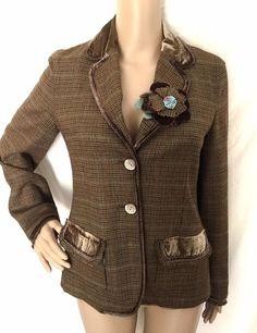 J.JILL Brown And Checked Wool Blend Blazer/Jacket w/Floral Pin Size 2 - EUC #JJILL #Blazer