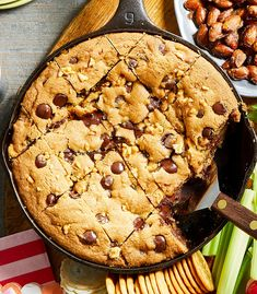 Add this deep-dish cookie to the top of your list of must-make cast-iron skillet desserts and youÕll never be disappointed. Add this deep-dish cookie to the top of your list of must-make cast-iron skillet desserts and youÕll never be disappointed. New Year's Desserts, Holiday Desserts, Gooey Cookies, Chip Cookies, Bar Cookies, Yummy Cookies, Cast Iron Skillet Cookie, Skillet Cake, Cookie Recipes
