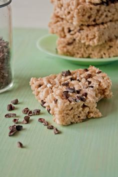 Rice krispie treats get fancy! Brown butter, cocoa nibs and a sprinkle of fleur de sel make these no bake treats totally craveable!