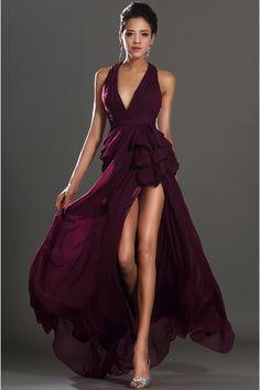 Popular Grape Chiffon Floor-Length A-Line Dress DWD0766 -