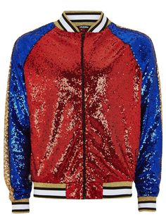 JADED'S Blue, Red And Gold Sequin Bomber Jacket* - Men's Coats & Jackets - Clothing - TOPMAN