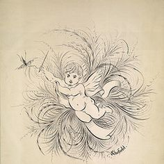 Flourish and drawing of a cherub by Fielding Schofield