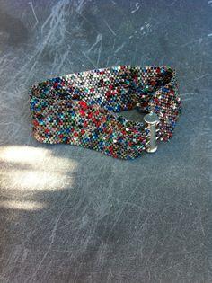 Statement Bracelet. Bead Weave Bracelet. Peyote Stitch. Seed Bead Bracelet . Multi Colour.