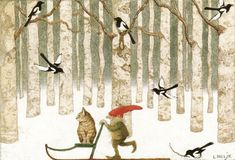Splashes in the World: Dwarves and playing in snowy forest donyets: Illustrations Lennart Helje