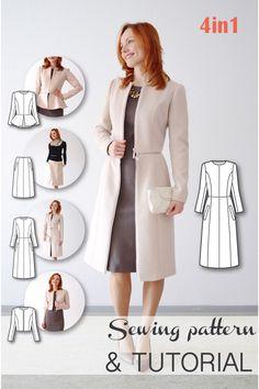 4-in-1 Transformable Coat (Peplum Jacket, Bolero, Skirt, Coat) Sewing Pattern and Sewing Tutorial