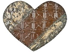 Rustic Recycled Tin Ceiling Tile Heart
