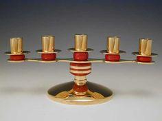 Art Deco Brass & Bakelite Candelabra / USA. c.1935 (Manufacturer, probably Chase)