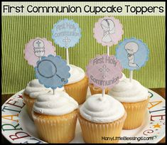 First Communion Cupcake Toppers Printables