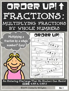 Multiplying Fractions by Whole Numbers - Order Up! by Created by MrHughes Multiplying Fractions, Dividing Fractions, Equivalent Fractions, Multiplication, Math Division, Long Division, Fun Math, Math Games, Maths