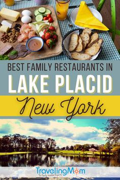 Located in the Adirondack Mountains of New York state, Lake Placid brings family-loving outdoor enthusiasts. Fortunately these NY dining spots satisfy hungry appetites! These are the best family dining spots in Lake Placid, including grab and go meals, casual and fine dining restaurants. Get the tips on where to eat with kids for breakfast, brunch, lunch, dinner and dessert in this lakeside getaway destination. (photo credit: top-TarpMagnus, bottom-Bonita Poole) #TMOM #TravelwithKids…