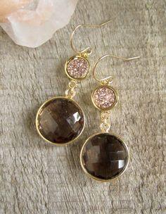 Rose Gold Druzy Earrings, Drusy Earrings, Druzy Quartz Jewelry, Smokey Quartz Earrings, Gemstone Drop Earrings, 14K Gold Fill Bezel Set