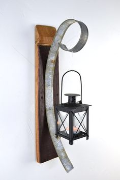 Wall Hanging Candle Holder with Square Lantern - 100% Recycled Wine Barrels