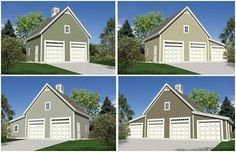 Expandable Detached Garage Plans with Lofts - Build any of twelve different garage layouts from one downloadable plan set, for just $29.00. Choose from two, three and four-car designs with optional storage or workshop areas.