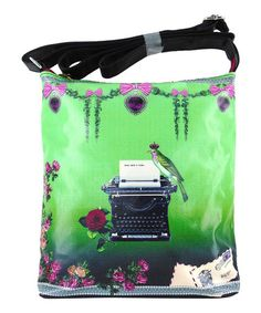 Love this Green Euro Chic Typewriter Crossbody Bag by LAVISHY on #zulily! #zulilyfinds