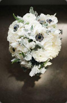 anemone and dahlia wedding flower bouquet, bridal bouquet, wedding ...