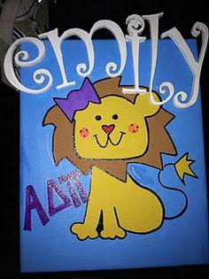 ADPi Lion canvas I made for @Emily Smith