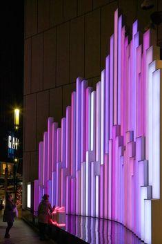 "Gallery of Sony Building ""Crystal Aqua Trees"" Installation / Torafu Architects - 3 Event Lighting, Stage Lighting, Lighting Design, Wedding Lighting, Wayfinding Signage, Signage Design, Dark Fantasy Art, Atrium Design, Church Backgrounds"
