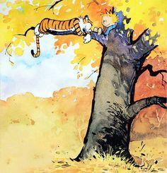 Calvin and Hobbes Watercolor Tree Print 24 x 24